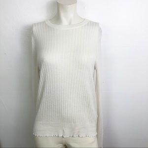 Elodie Frilled Sleeve And Hem Line Cream Top